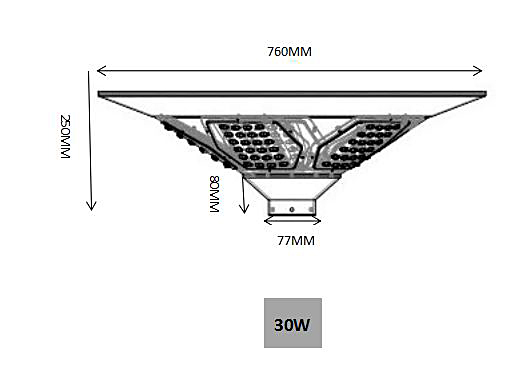 30W Solar Plaza light with sensor |high quality aluminum material –T2-J30-2