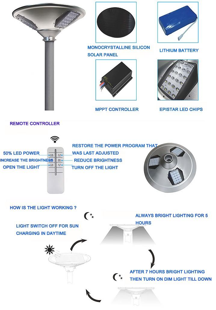 30W Solar Plaza light with sensor |high quality aluminum material –T2-J30-3