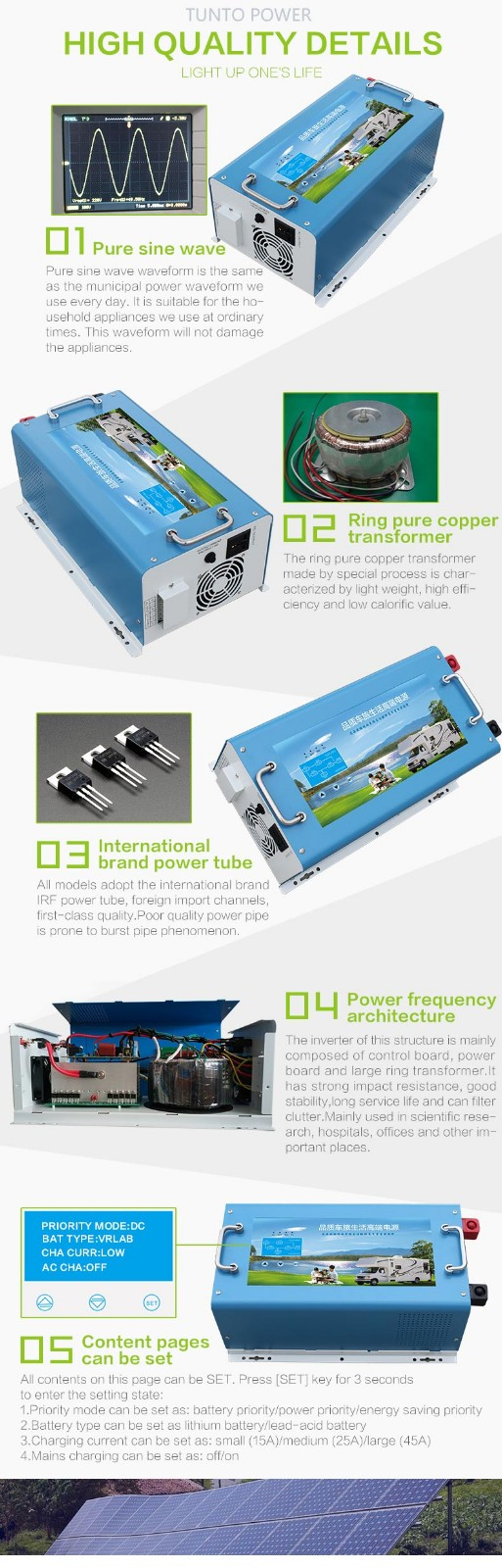 Tunto solar inverter system wholesale for lights-4