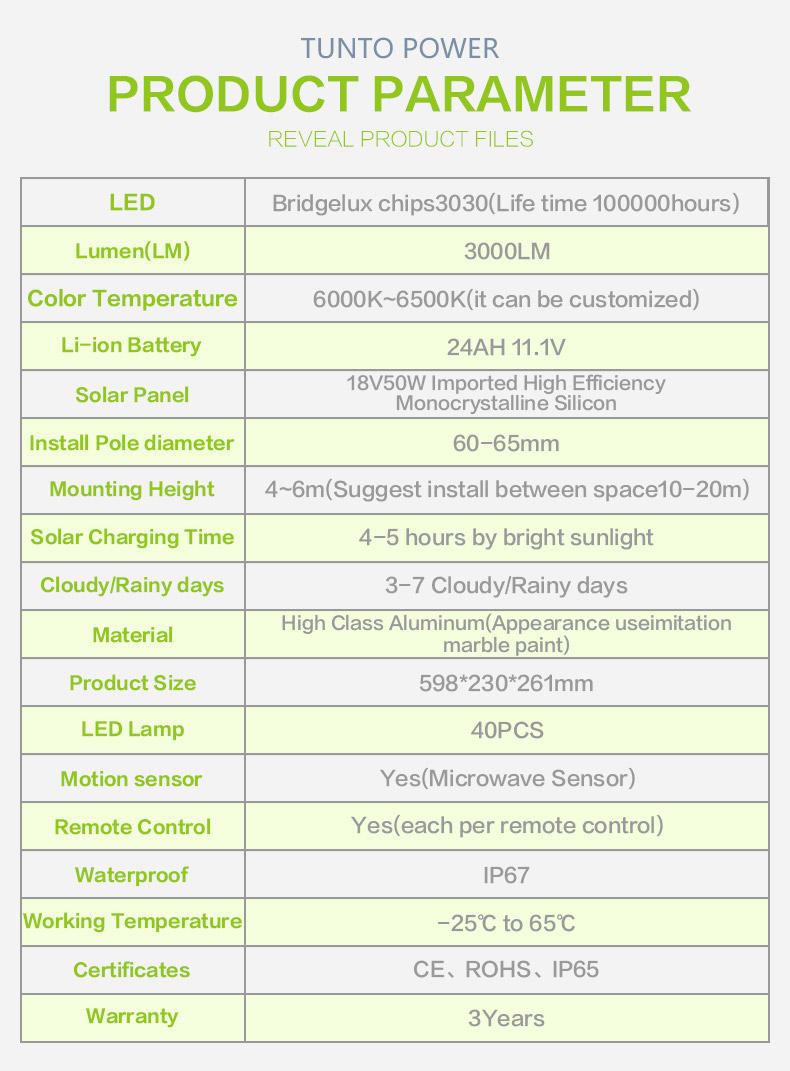 integrated solar street light personalized for road Tunto