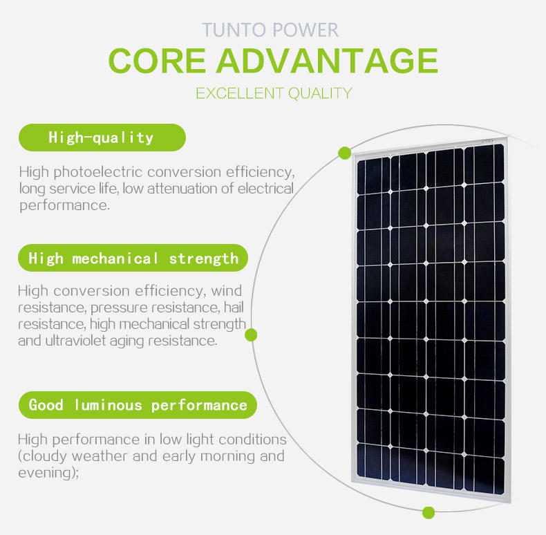 Tunto polycrystalline polycrystalline solar panel 80w for farm